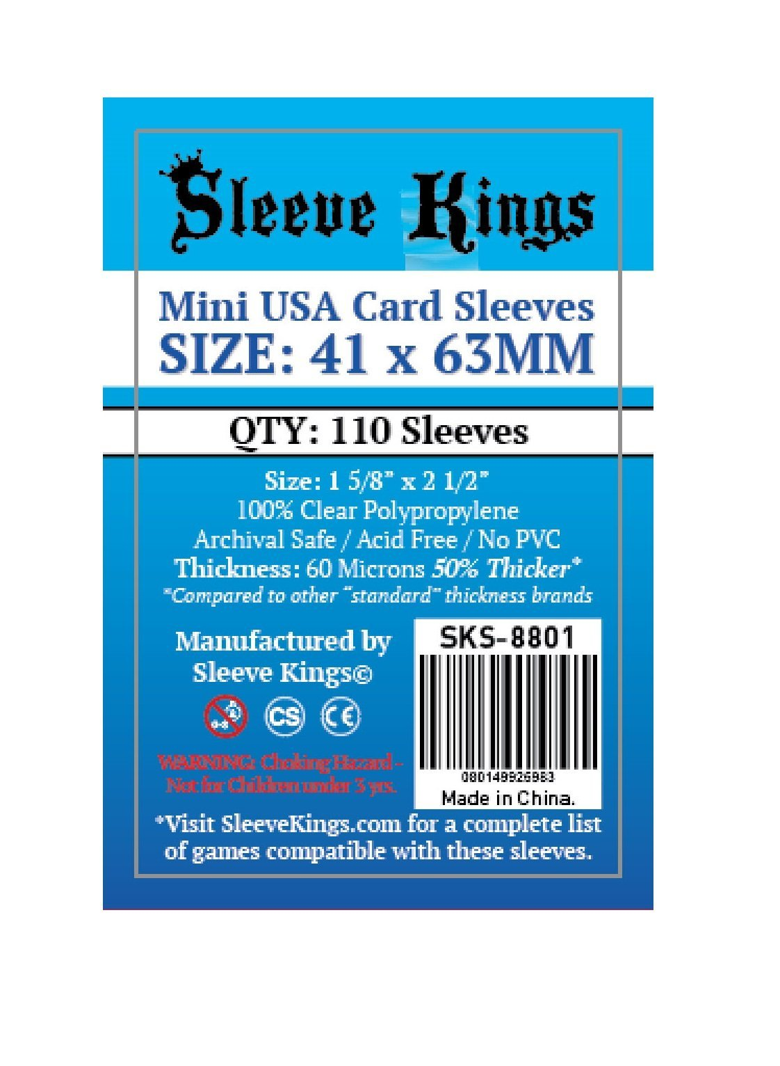 Bored Game Company is the best place to buy Sleeve Kings Mini USA Card Sleeves (41x63mm) - 110 Pack, 60 Microns in India.