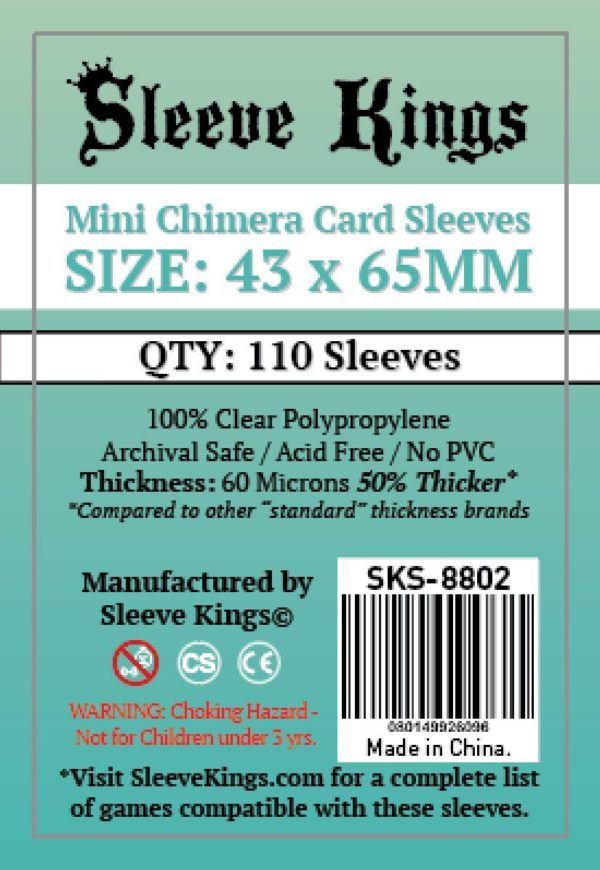 Bored Game Company is the best place to buy Sleeve Kings Mini Chimera Card Sleeves (43x65mm) - 110 Pack, 60 Microns in India.