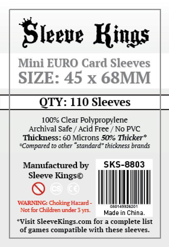 Buy Sleeve Kings Mini Euro Card Sleeves (45x68mm) - 110 Pack, 60 Microns in India only at Bored Game Company.