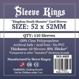"Bored Game Company is the best place to buy Sleeve Kings ""Kingdom Death Monster"" Card Sleeves (52x52mm) - 110 Pack, 60 Microns in India."