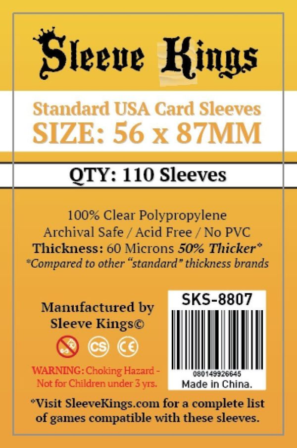 Wondering where to buy Sleeve Kings Standard USA Card Sleeves (56x87mm) - 110 Pack, 60 Microns in India? Find it only on Bored Game Company.