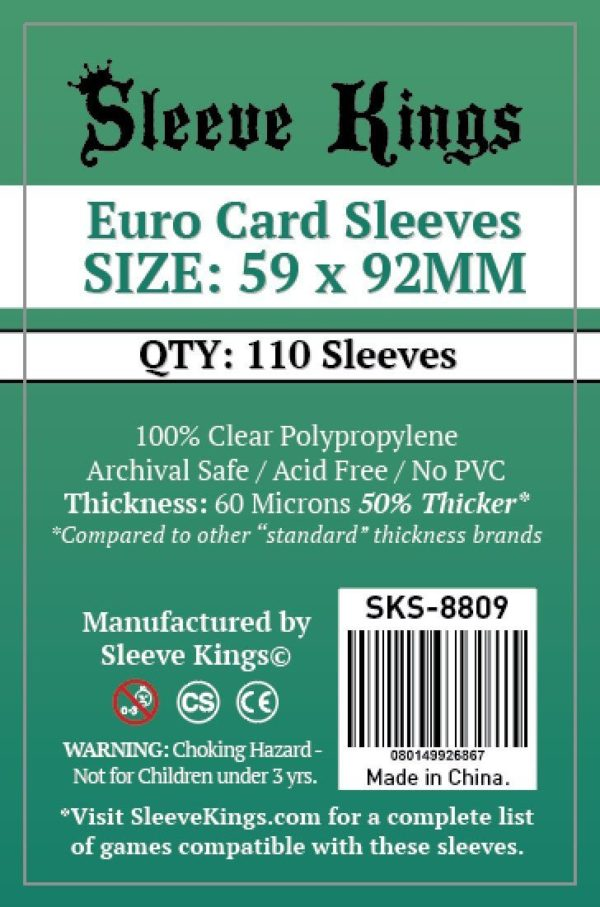 Bored Game Company is the best place to buy Sleeve Kings Euro Card Sleeves (59x92mm) - 110 Pack, 60 Microns in India.