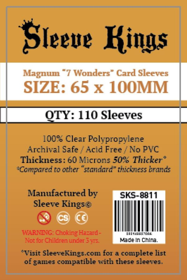 """Bored Game Company is the best place to buy Sleeve Kings Magnum """"7 Wonders"""" Card Sleeves (65x100mm) - 110 Pack, 60 Microns in India."""