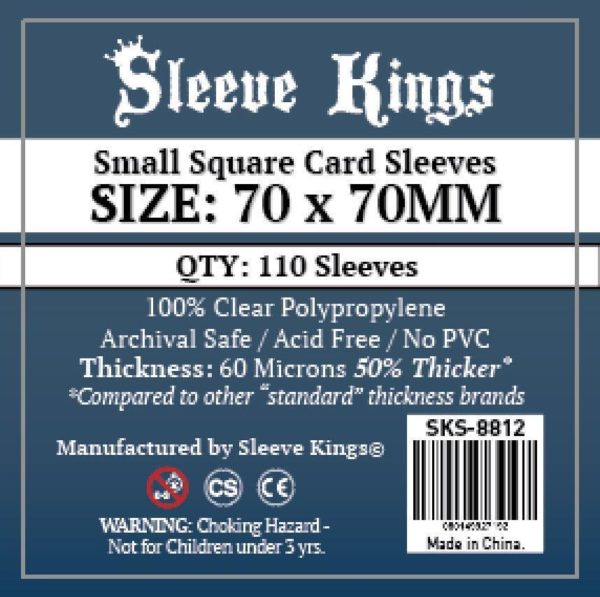 Wondering where to buy Sleeve Kings Small Square Card Sleeves (70x70mm) - 110 Pack, 60 Microns in India? Find it only on Bored Game Company.