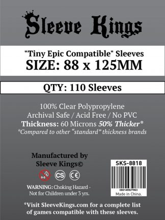 "Wondering where to buy Sleeve Kings ""Tiny Epic Compatible"" Sleeves (88x125mm) - 110 Pack, 60 Microns in India? Find it only on Bored Game Company."