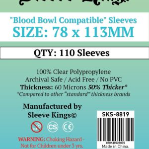 "Buy Sleeve Kings ""Blood Bowl Compatible"" Sleeves (78x113mm) - 110 Pack, 60 Microns in India only at Bored Game Company."