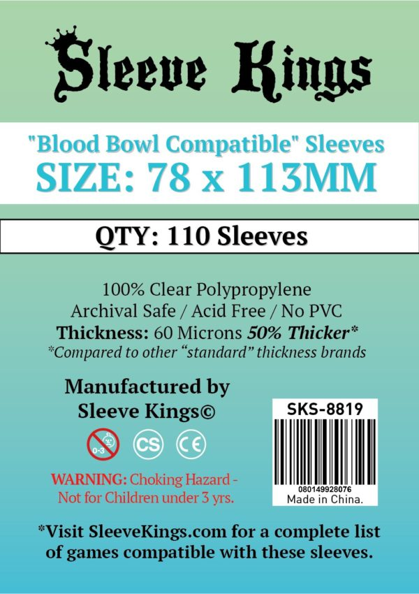 """Buy Sleeve Kings """"Blood Bowl Compatible"""" Sleeves (78x113mm) - 110 Pack, 60 Microns in India only at Bored Game Company."""
