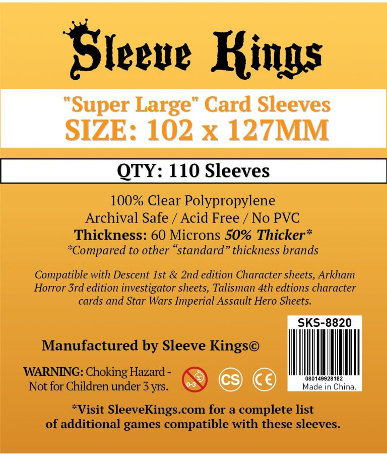 "Buy Sleeve Kings ""Super Large"" Sleeves (102x127mm) - 110 Pack, 60 Microns in India only at Bored Game Company."