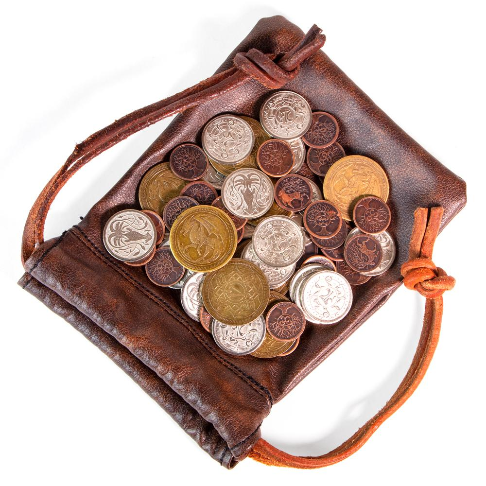 Coins and leather purse