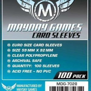 Buy Mayday Standard Sleeves: Euro Card Sleeves (59 x 92mm) - Pack of 100 only at Bored Game Company.