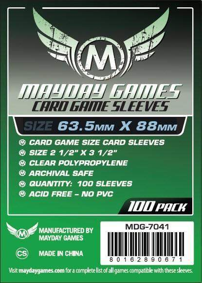 Buy Mayday Standard Sleeves: Standard Card Sleeves (63.5 x 88mm) - Pack of 100 only at Bored Game Company.