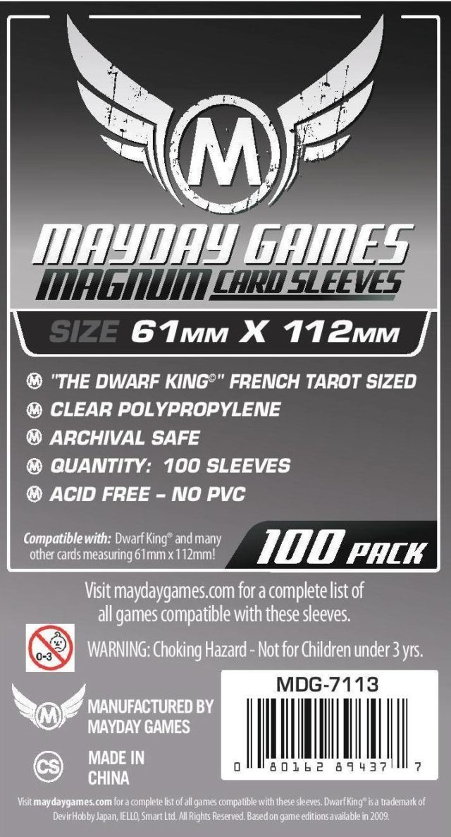 "Buy Mayday Standard Sleeves: ""Dwarf King"" French Tarot Card Sleeves - Magnum Sleeves (61 x 112mm) - Pack of 100 only at Bored Game Company."