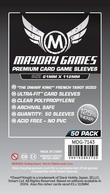 """Buy Mayday Premium Sleeves: """"Dwarf King"""" French Tarot Card Sleeves - Magnum Sleeves (61 x 112mm) - Pack of 50 only at Bored Game Company."""