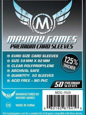Buy Mayday Premium Sleeves: Euro Card Sleeves (59 x 92mm) - Pack of 50 only at Bored Game Company.