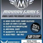 Buy Mayday Premium Sleeves: Mini Euro Card Sleeves (45 x 68mm) - Pack of 50 only at Bored Game Company.