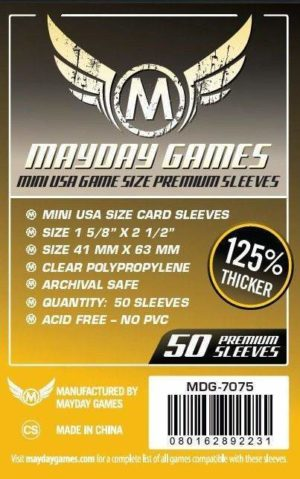 Buy Mayday Premium Sleeves: Mini USA Card Sleeves (41 x 63mm) - Pack of 50 only at Bored Game Company.