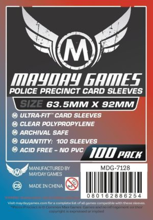 """Buy Mayday Standard Sleeves: """"Police Precinct"""" Card Sleeves - Ultra Fit Sleeves (63.5 x 92mm) - Pack of 100 only at Bored Game Company."""