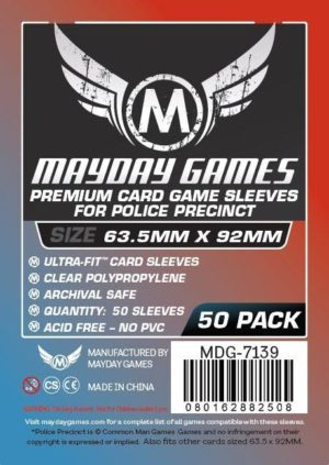 """Buy Mayday Premium Sleeves: """"Police Precinct"""" Card Sleeves - Ultra Fit Sleeves (63.5 x 92mm) - Pack of 50 only at Bored Game Company."""