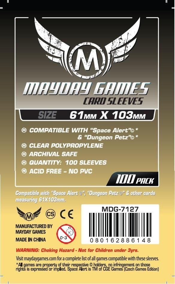 """Buy Mayday Standard Sleeves: """"Space Alert"""" & """"Dungeon Petz"""" Card Sleeves (61 x 103mm) - Pack of 100 only at Bored Game Company."""