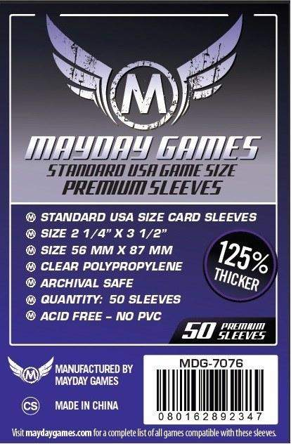 Buy Mayday Premium Sleeves: Standard USA Card Sleeves (56 x 87mm) - Pack of 50 only at Bored Game Company.