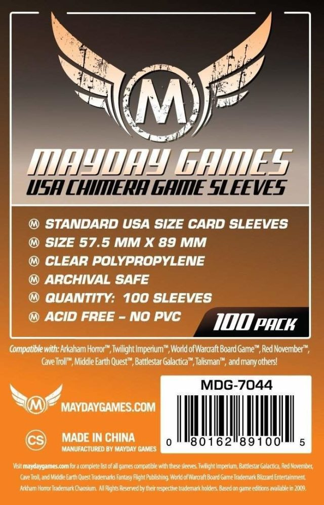 Buy Mayday Standard Sleeves: Standard USA Chimera Card Sleeves (57.5 x 89mm) - Pack of 100 only at Bored Game Company.