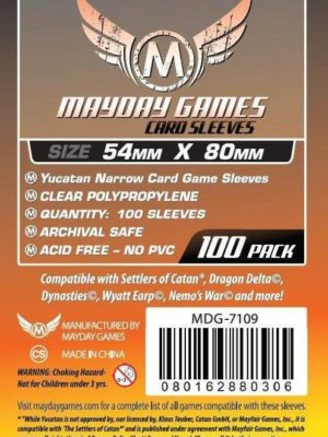Buy Mayday Standard Sleeves: Yucatan Card Sleeves - Narrow Sleeves (54 x 80mm) - Pack of 100 only at Bored Game Company.