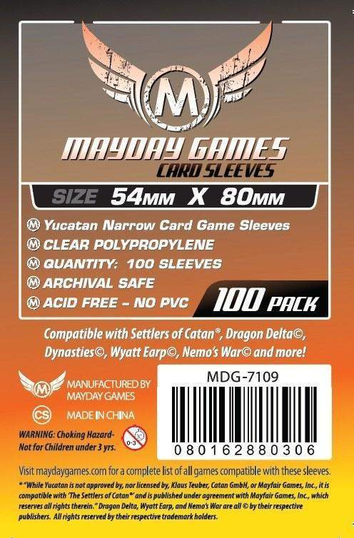 Buy Mayday Standard Sleeves: Yucatan Card Sleeves - Narrow Sleeves (54 x 80mm) - Pack of 100 only at Bored Game Company.