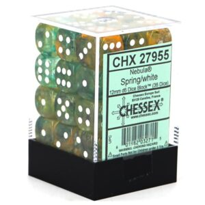 Buy Chessex - Nebula - 12mm D6 (x36) - Luminary -Spring/White only at Bored Game Company.