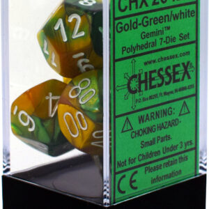 Buy Chessex - Gemini - Poly Set (x7) - Gold-Green/White only at Bored Game Company.