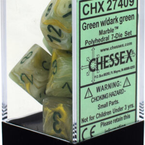 Buy Chessex - Marble - Poly Set (x7) - Green/Dark Green only at Bored Game Company.