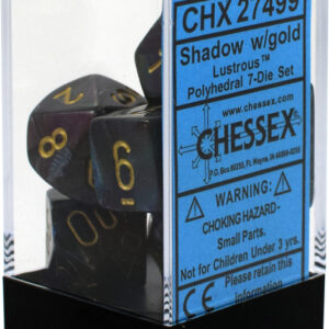 Buy Chessex - Lustrous - Poly Set (x7) - Shadow/Gold only at Bored Game Company.