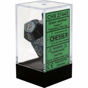 Buy Chessex - Festive - Poly Set (x7) - Green/Silver only at Bored Game Company.