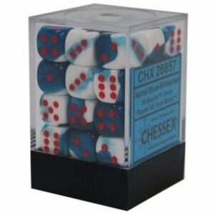 Buy Chessex - Gemini - 12mm D6 (x36) - Astral Blue-White/Red only at Bored Game Company.