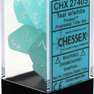 Buy Chessex - Frosted - Poly Set (x7) - Teal/White only at Bored Game Company.