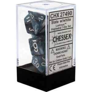 Buy Chessex - Lustrous - Poly Set (x7) - Slate/White only at Bored Game Company.